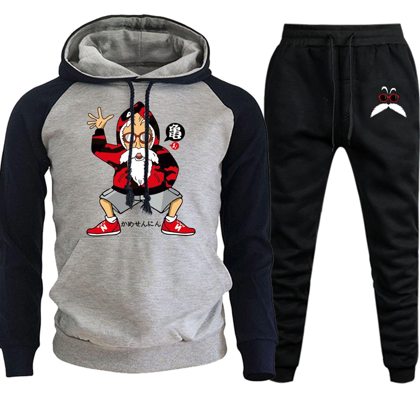 Master Roshi Dragon Ball Fashion Streetwear Raglan Men Hooded Autumn Winter 2019 Cartoon Suit Hip Hop Hoodies+Pants 2 Piece Set