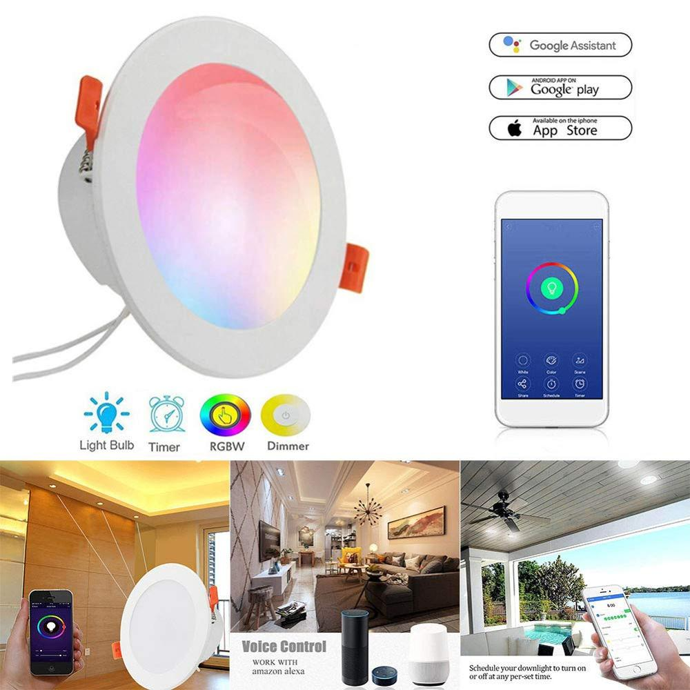Boaz 4/6 Inch Smart Wifi Led Downlight Warm White Dimmable Lamp Color Changing Alexa Voice Control Ceiling Light Indoor Home