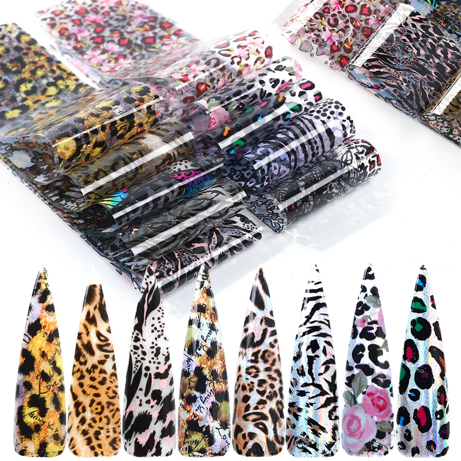 10pcs Leopard Print Nail Foil Stickers Nail Art Transfer Foils Set Holographic Design Adhesive Wraps Decoration Manicure TR2001