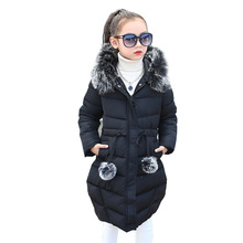 Girls Winter Overalls 2019 High Quality Children Fur Hooded Thick Warm Long Cotton-padded Jacket Coat Toddler Kids Cold Clothes girls fur hooded winter coat children fashion padded cotton jacket 10 12 9 year girl long warm jacket kids thick wadded outwear