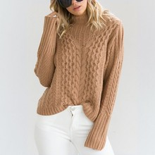 2019 autumn and winter sweater women sexy half-high collar long-sleeved strapless twist