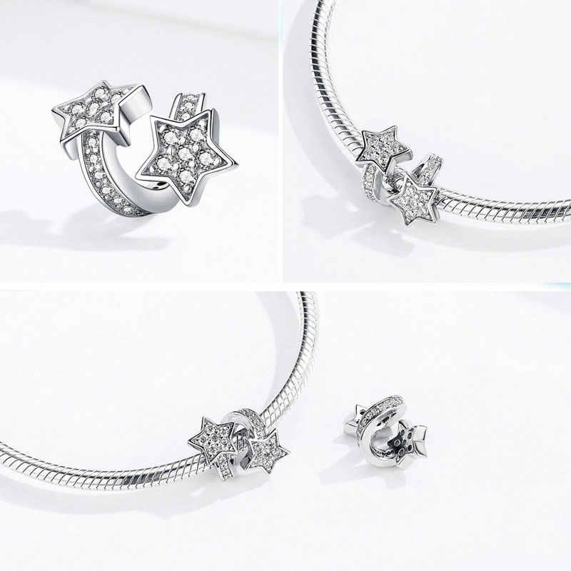 Bisaer 925 prata esterlina estrelas azuis lua floco de neve perles estrela contas encantos ajuste feminino charme pulseiras prata 925 jóias