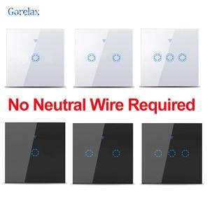 Wifi умный сенсорный светильник, не требуется нейтральный провод Tuya RF433 пульт дистанционного управления настенный выключатель работает с Alexa ...