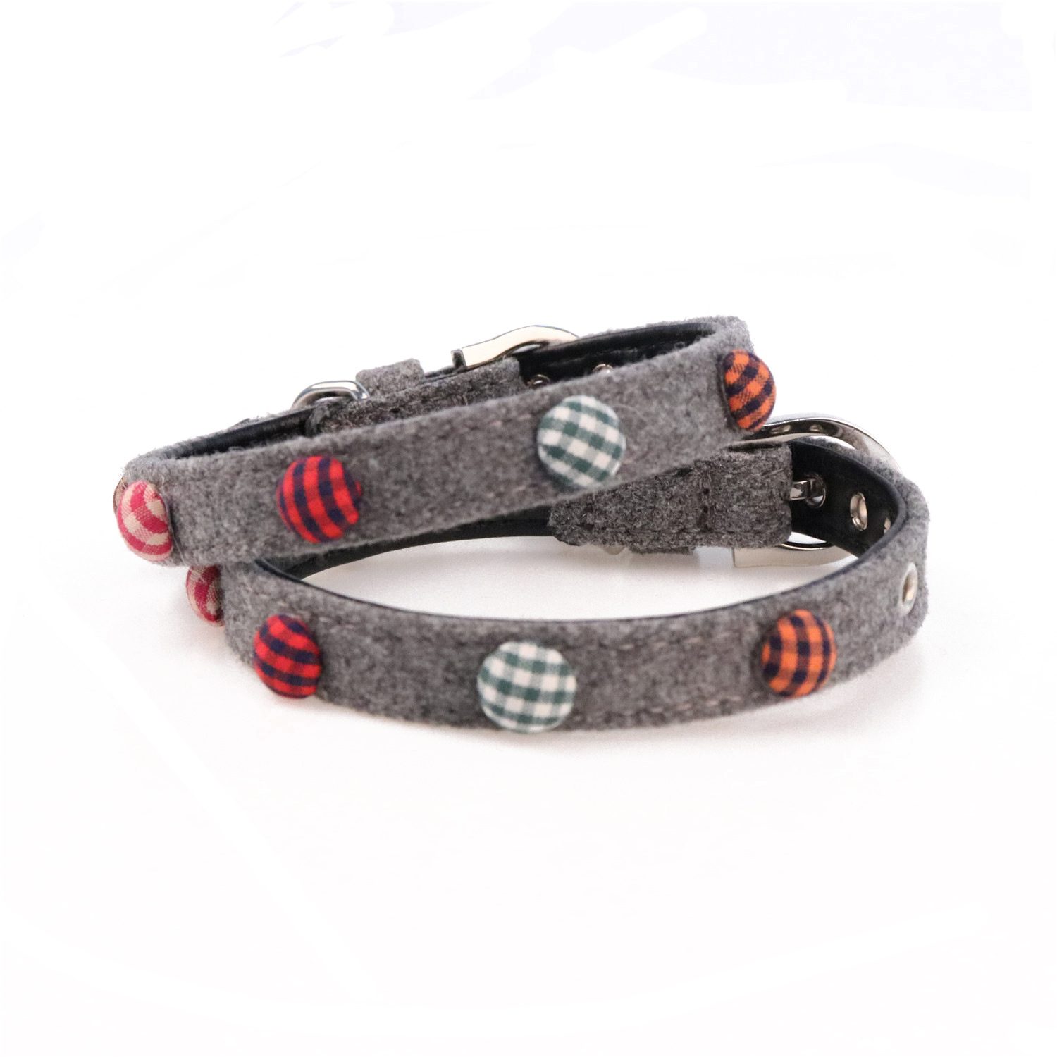 Amin Lattice New Style Plaid Button Pet Collar Fabric Woolen Cloth Dog Neck Ring Compatible Traction
