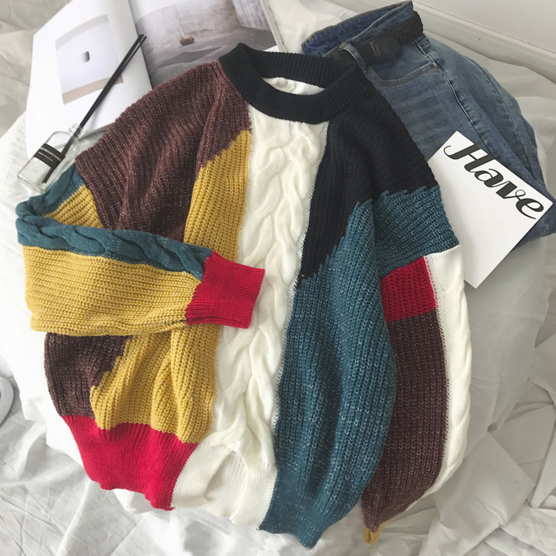 UYUK2019 Autumn And Winter Models Trend Street Loose Casual Multicolor Stitching Contrast Color Men's Round Neck Sweaters
