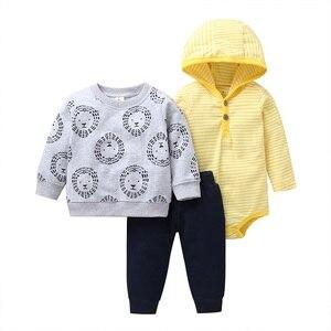 Image 3 - Bébé garçon tenue à manches longues vestes à capuche + body + pantalon nouveau né costume infantile vêtements 2020 printemps automne nouveau né vêtements