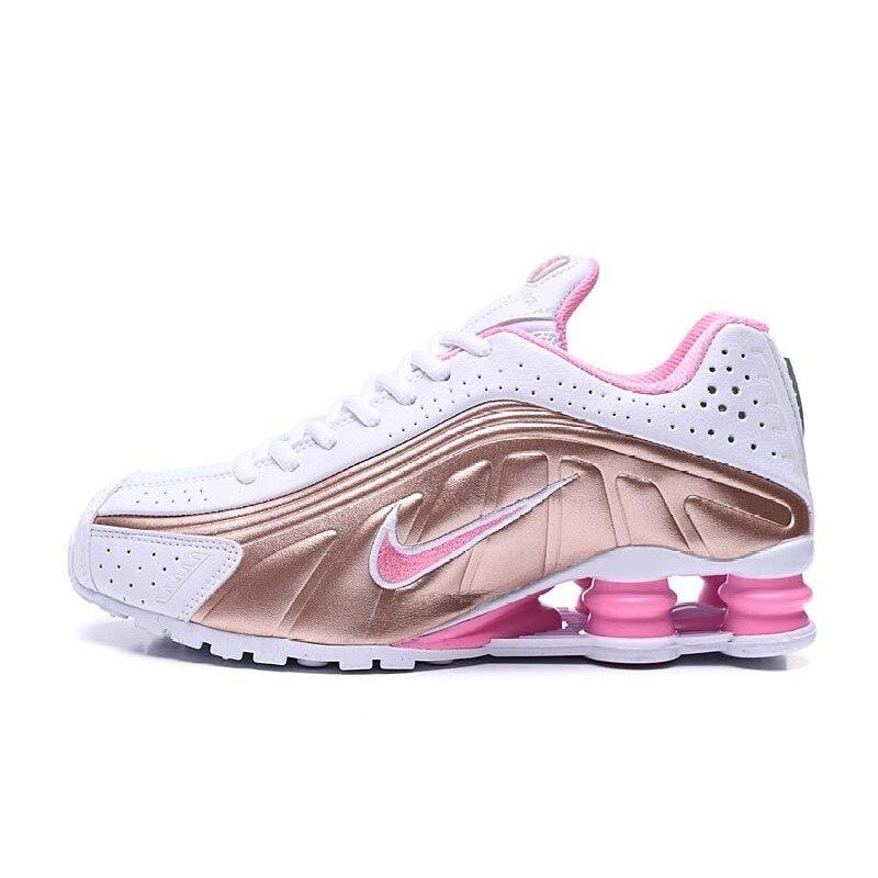 Chaussures de sport SHOX R4 pour hommes et femmes, baskets roses originales de couleur or et blanc, imperméables pour la course