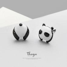 Thaya Lucky Cute Panda Stud Earrings Silver 925 Original Design Jewelry Story for Women Elegant Gift