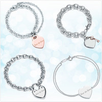 Sterling silver 925 classic popular original fashion heart shaped charm ladies bracelet jewelry holiday gift