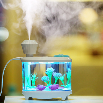 460ml Fish Tank USB Humidifier LED Lights Ultrasonic Air Humidifiers Mist Maker Mini Home Desktop Air Purifier lovely cute mini bucket shape usb humidifier led night light home office car humidifiers mist maker air purifier