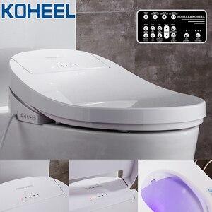 Image 1 - KOHEEL elektryczny inteligentny Bidet pokrywa ciepła siedzi Led światło zintegrowane inteligentny sedes