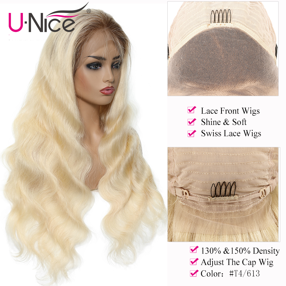 Unice Hair 13*4/6 Ombre Blond Human Hair Wig Pre Plucked Lace Front Human Hair Wigs T4/613 Brazilian Body Wave Wigs 12-22 Inch