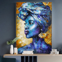 Abstract Blue African Woman Canvas Oil Painting On Wall Art Poster And Prints Portrait Picture For Living Room Decor Cuadros