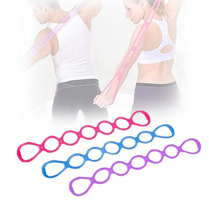 Gym Elastische 7 Gat Siliconen Spanning Touw Yoga Spanband Voor Vrouwen & mannen Arm Krachttraining Oefening Apparatuur
