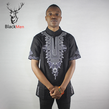 Dashiki Men Black Wise Embroidered Men`s Ethnic Tops Short Sleeved Neck African Shirts for Male Summer Wearing