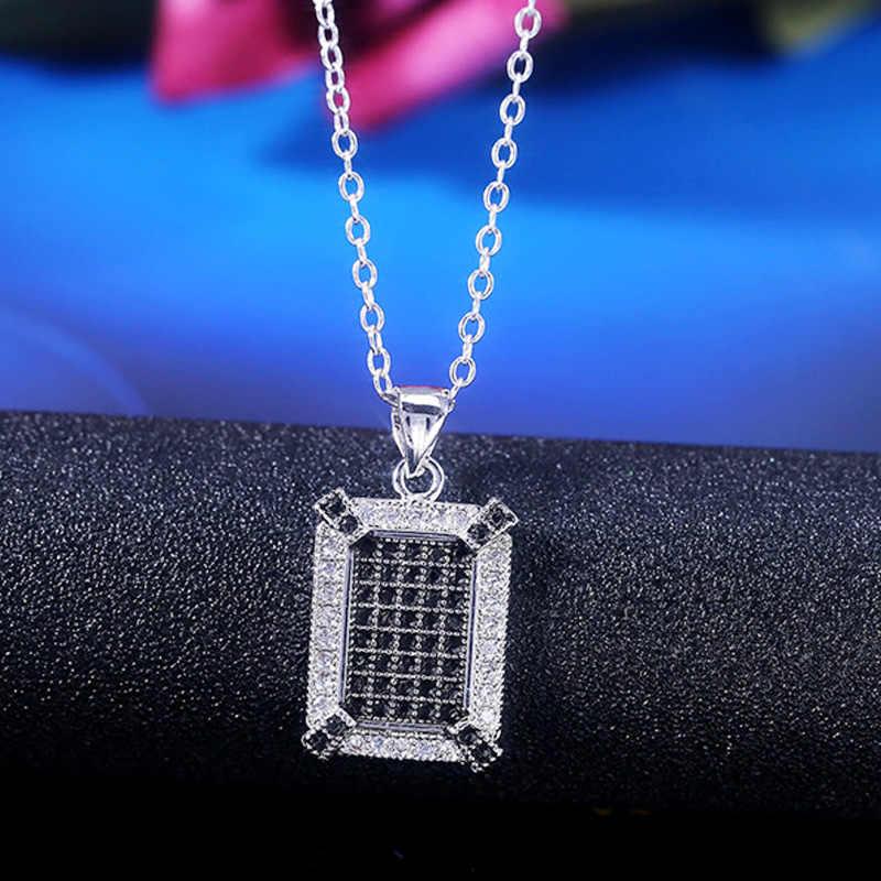 Cuadrado de plata CZ Circonita Cristal Piedra Collar Colgante Cadena para Mujeres Chicas