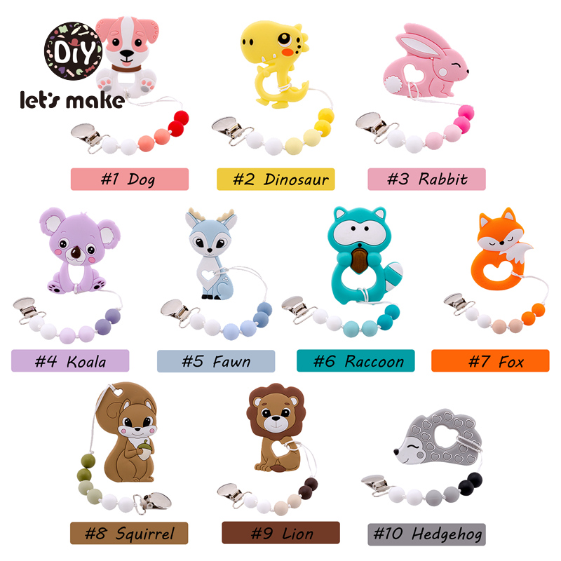 Let's Make Baby Pacifier 1pc Silicone Teethers Cartoon Animals Teething Dummy Holder Food Grade Silicone Pacifier Clips Chains