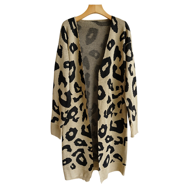 Winter Fashion Woman Sweaters Long Sleeve Leopard Print Knitted Cardigan Sweater Coat Tops Women Clothing Plus Size  2018 New 4