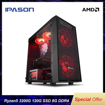 IPASON Mini Gaming PC AMD Ryzen R3 2200G Upgrade 3200G New Generation Ryzen Desktop Computer 8G DDR4 120G SSD Office Assembly PC 1