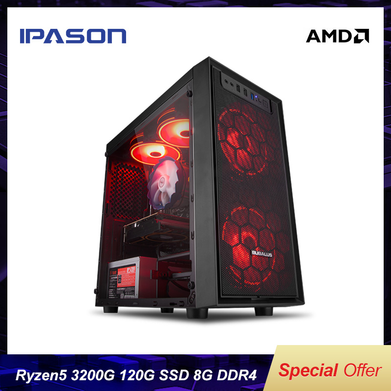 IPASON Mini Gaming PCAMD R3 2200G Upgrade 3200G New Generation Ryzen Desktop Computer 8G DDR4 120G SSD Office Assembly Machine