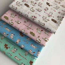 100cm Long Linen Fabric Linen Printing Small White Cat Handmade DIY Pillow with Cloth Handmade Cloth Curtain Tablecloth Material [available with 10 11] linen duo love dream