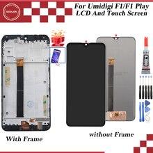 """Ocolor para umi umidigi f1 display lcd e tela de toque com moldura 6.3 """"acessórios do telefone para umi umidigi f1 jogar com ferramentas + filme"""