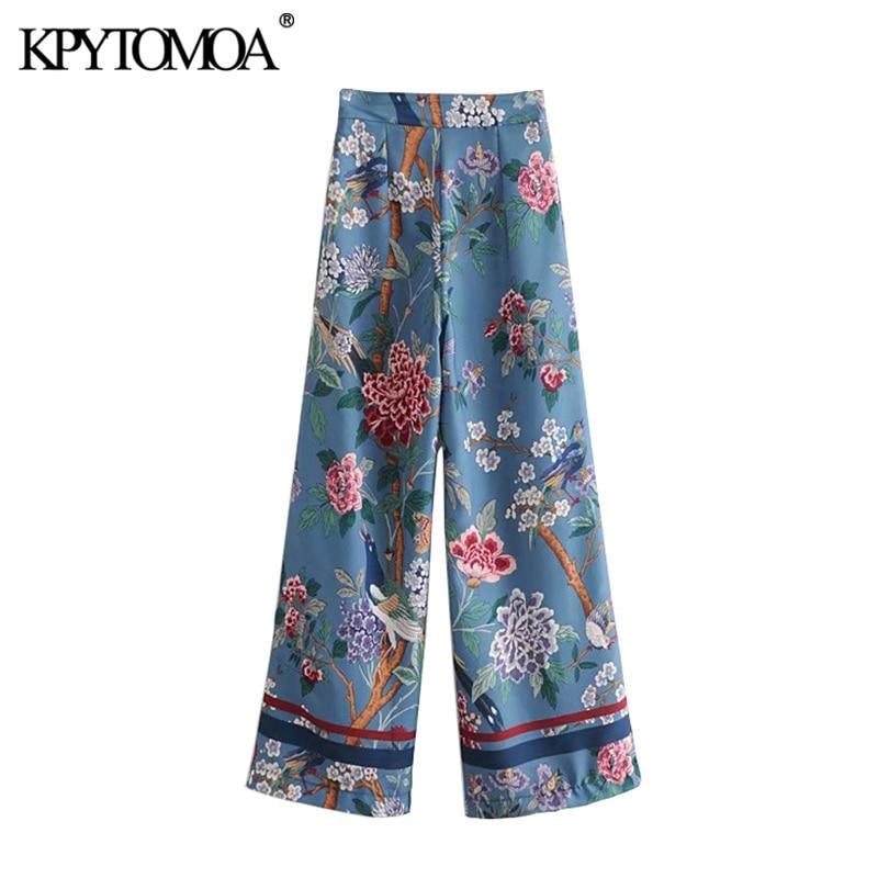 Vintage Elegant Floral Bird Print Wide Leg Pants Women 2020 Fashion Side Zipper Streetwear Ladies Trousers Casual Pantalon Mujer