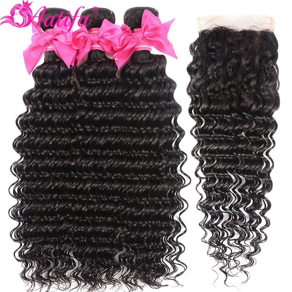 Peruvian Deep Wave Bundles With Closure Human Hair Bundles With Closure Remy Hair 3 Bundles With