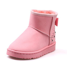 YeddaMavis Boots Fashion Thick Fur Women Snow Round Toe Waterproof Female Flat High Top Winter Sewing