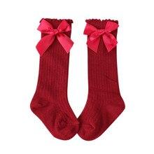 Носки для маленьких девочек; сезон зима-осень; meias infantil; Гольфы принцессы с бантиками; зимние носки для малышей; длинные носки в Вертикальную Полоску; sokken