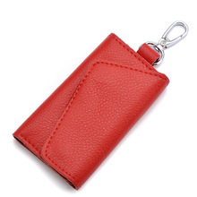 Fashion Key Holder Wallet for Men Women Genuine Leather Key Organizer Wallet Multi Function Case Housekeeper Holders 6 Key Ring bentoy brand leather women purse trunk organizer key holder wallet hologram laser card holders small pocket bags key case