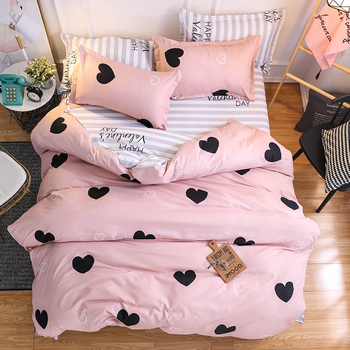 Classic bed linen Pink love style home Bedding Set Duvet Cover Pillowcase flat bed sheet queen king single size 3/4 pcs pink cherry strawberry printing fleece fabric girl bedding set flannel duvet cover bed sheet linen pillowcase crown big backrest