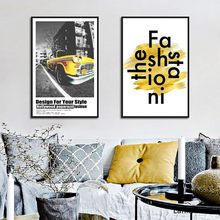 Yellow Car Nordic Poster Night Landscape Painting Wall Art Canvas Print HD Pictures Home Decoration For Living Room Artwork(China)