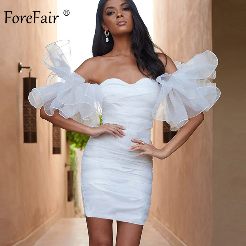 Forefair <font><b>Sexy</b></font> Off Shoulder Mesh Women <font><b>Dress</b></font> <font><b>2019</b></font> Party Night Club Mini <font><b>Bodycon</b></font> Sheath <font><b>Black</b></font> White Strapless <font><b>Dress</b></font> image