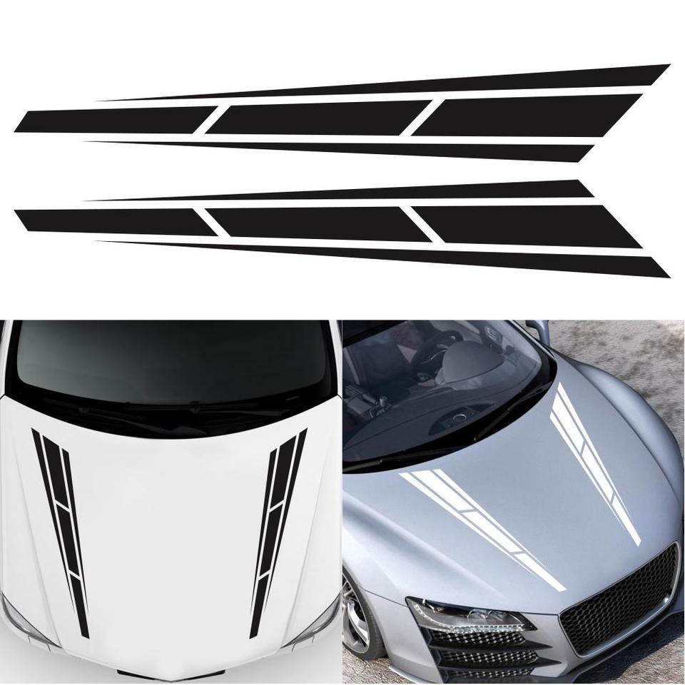 2Pcs White Car Racing Sport Stripe Vinyl Decals Graphics Truck Bonnet Stickers