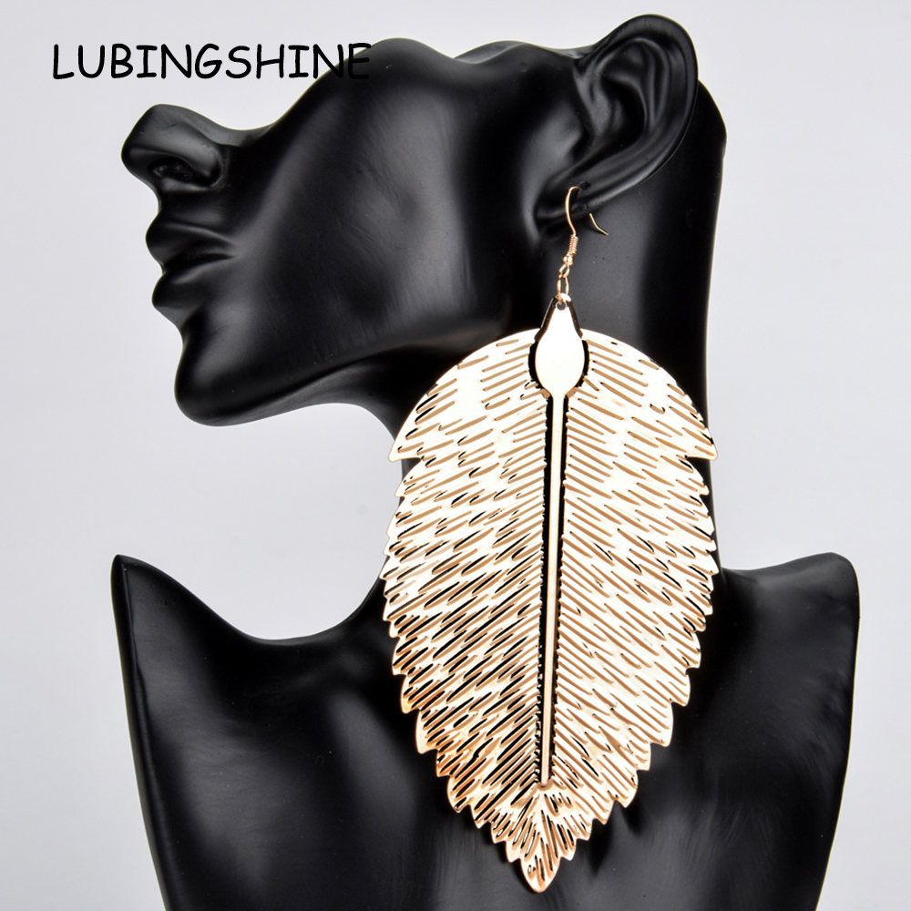 Женские серьги-подвески в стиле хип-хоп, длинные серьги золотого цвета с перьями из металлического сплава, вечерние ювелирные изделия в сти...