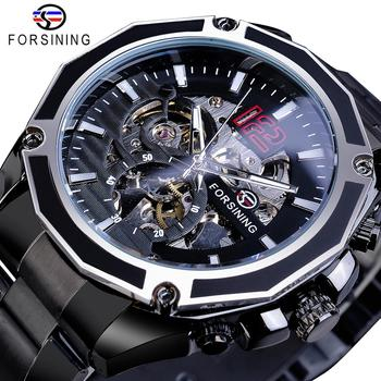 Forsining Black Steel Steampunk Sport Military Skeleton Mens Wrist Watches Automatic Top Brand Luxury Male Clock Mechanical Hour forsining 3d skeleton royal retro design blue steel mesh band golden movement men mechanical male wrist watches top brand luxury