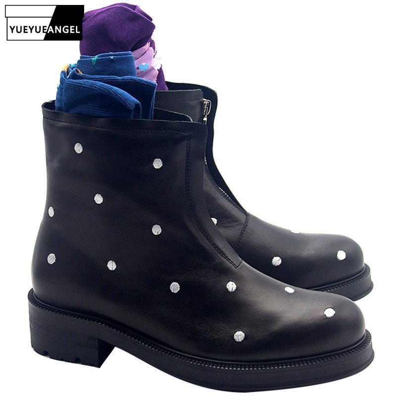 2020 New White Polka Dot Black Men Ankle Boots Round Toe Zipper Fashion England Style Genuine Leather Boots 2020 Autumn Shoes