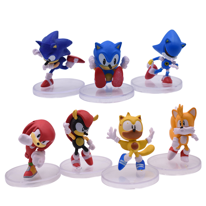 7 Pcs/lot Anime Sonic Tails Amy Rose Knuckles PVC Action Figure Doll Model Toy Christmas Gift For Children 7