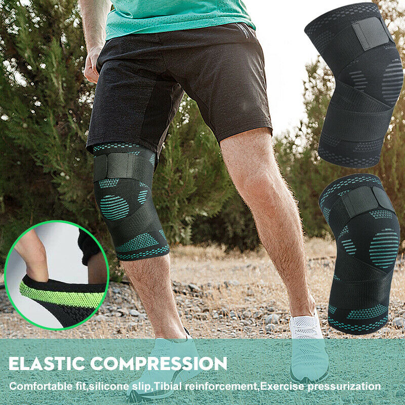 New 1PC 3D Sports Kneepad Men Pressurized Elastic Knee Pads Support Fitness Gear Basketball Volleyball Brace Protector Brand New