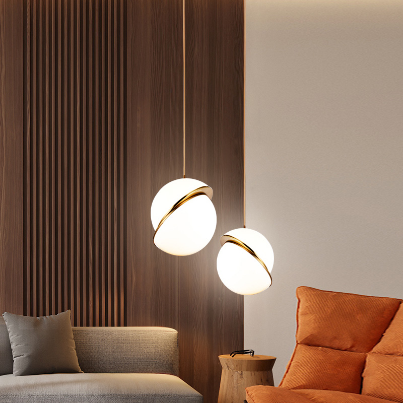 Nordic Modern Pendant Lights For Dining Room Bedroom Restaurant Decor Hotel Golden LED Hanging Lamp Fixture White Ball Lampshade