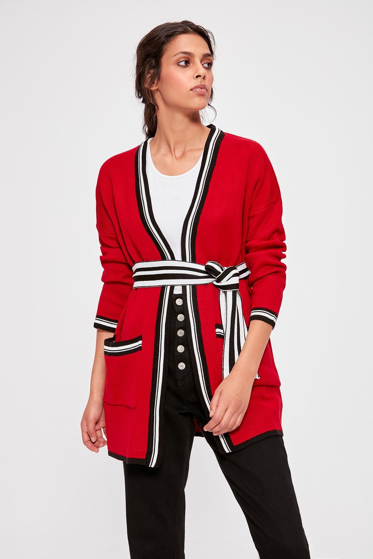 Trendyol Red Belted Sweater Cardigan TWOAW20FV0113