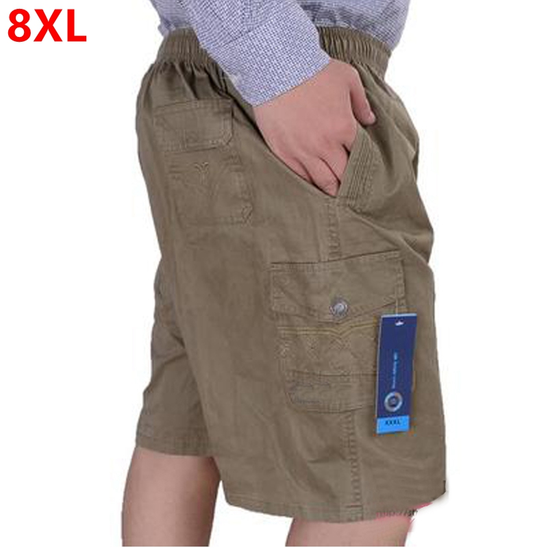 Big size men's summer casual   Shorts   XL plus size loose fat middle-aged fat cotton 8XL 7XL 6XL Large size
