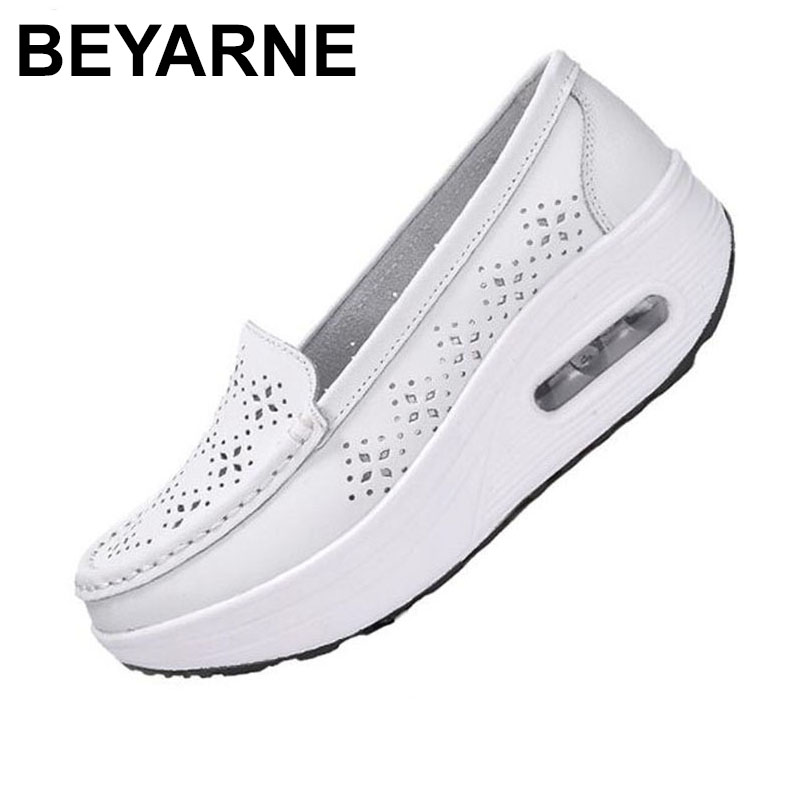 BEYARNEWomen's shoes summer shoes genuine leather cutout breathable swing shoes white nurse shoes wedges increase mother's shoes image