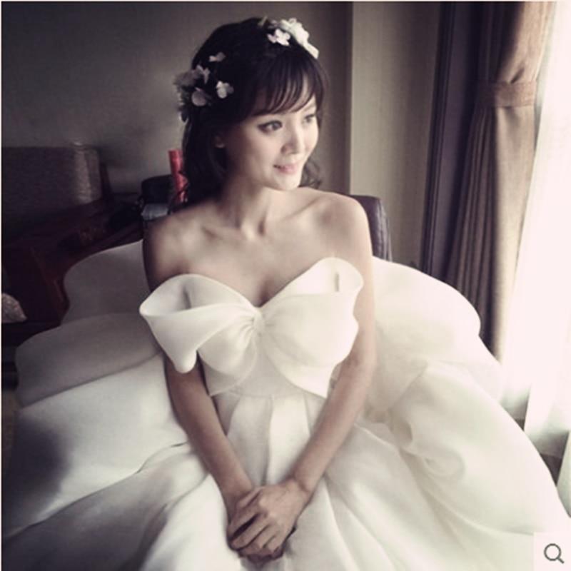 Lovely Bow Sweet Chiffon Bridal Dress Tutu Vestidos De Novia Applique Corset Wedding Dress Ball Gowns Robe De Mariage Real Photo