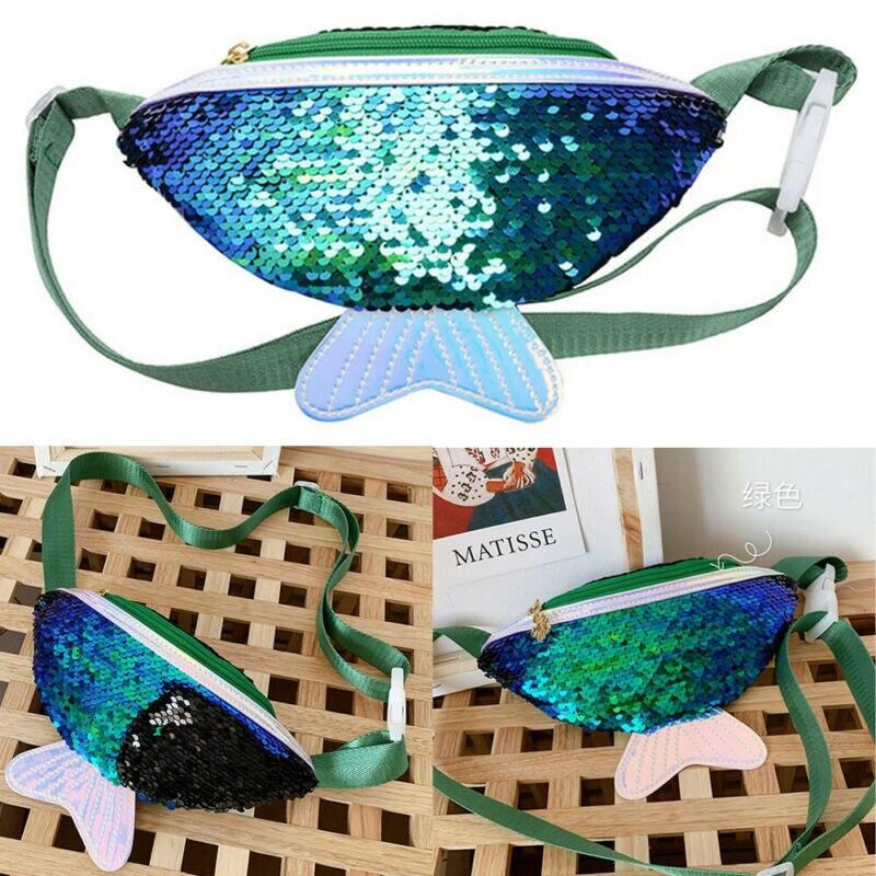 1pc Glitter Sequins Waist Pack Sports Fanny Bag Travel Purse Bum Pouch Belt Bag Kids
