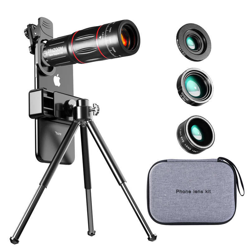 Timluor 28X metal telescope lens monocular phone camera lens HD with mini selfie tripod for iPhone 78 Xiaomi all Smartphone