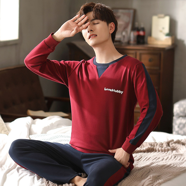 Solid Man Clothes Letter Printing Homesuit Homeclothes Sleepwear Pajamas Set Man Pijamas Loungewear Man Sports Style 5