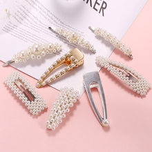 2019 New Fashion Pearl Hair Clip for Women Elegant Korean Design Snap Barrette Stick Hairpin Hair Styling Accessories(China)
