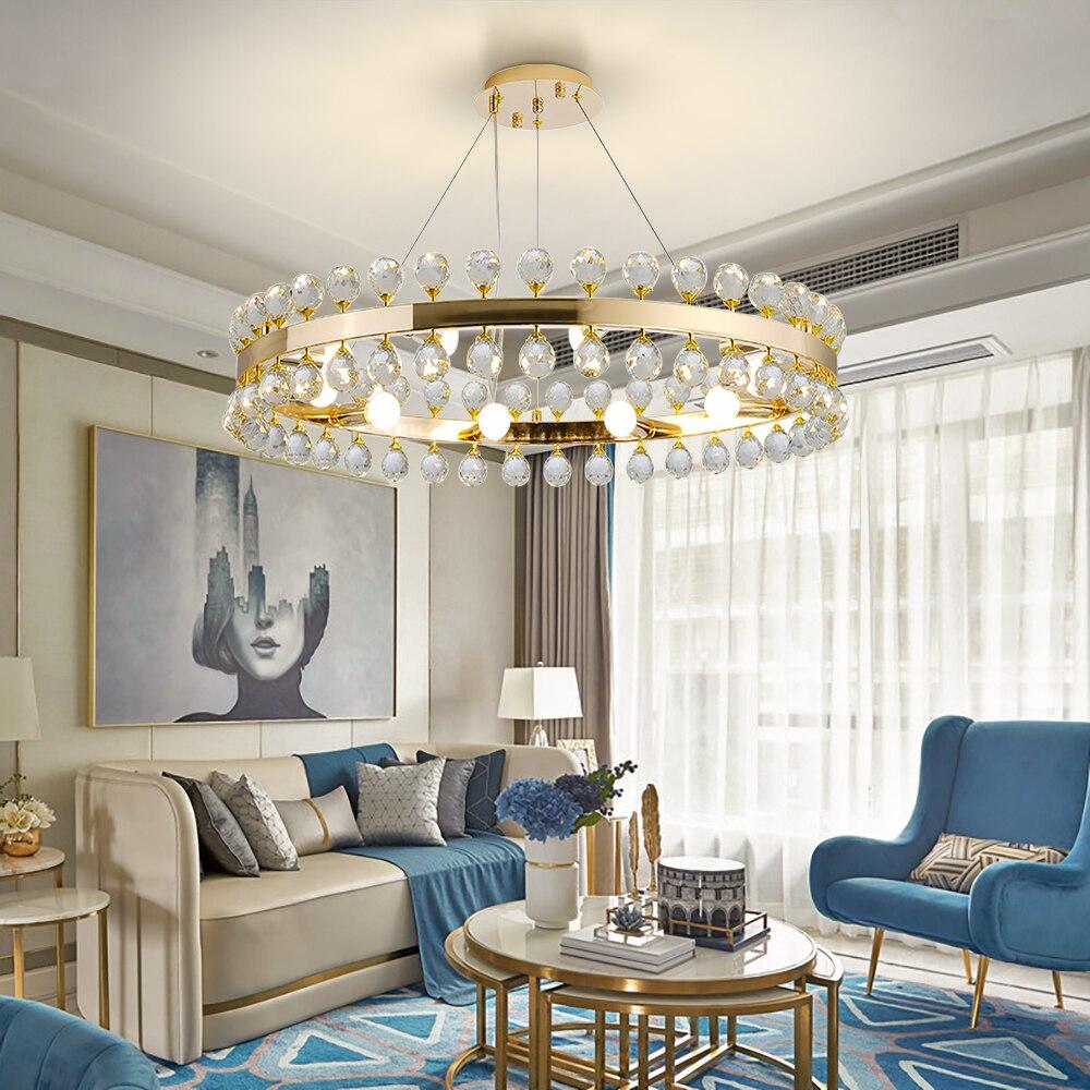 Lampadari In Camera Da Letto us $262.4 18% di sconto|lampadari moderni lustro cristal caldo camera da  letto romantica led avize iluminaria corona lampadario di cristallo di